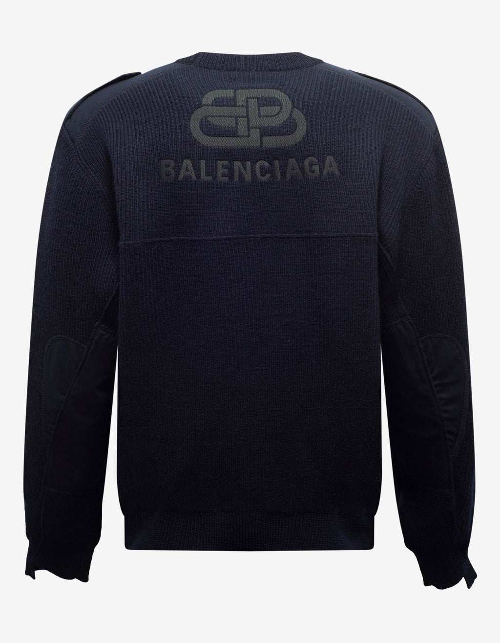Navy Blue Logo Panelled Sweater -