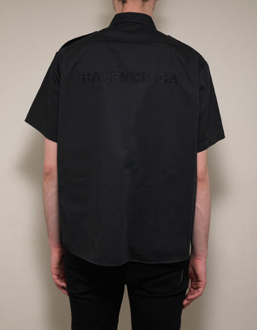 Balenciaga Navy Blue Short Sleeve Army Shirt