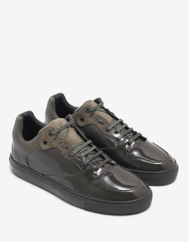 Balenciaga Olive Green Patent & Suede Leather Trainers