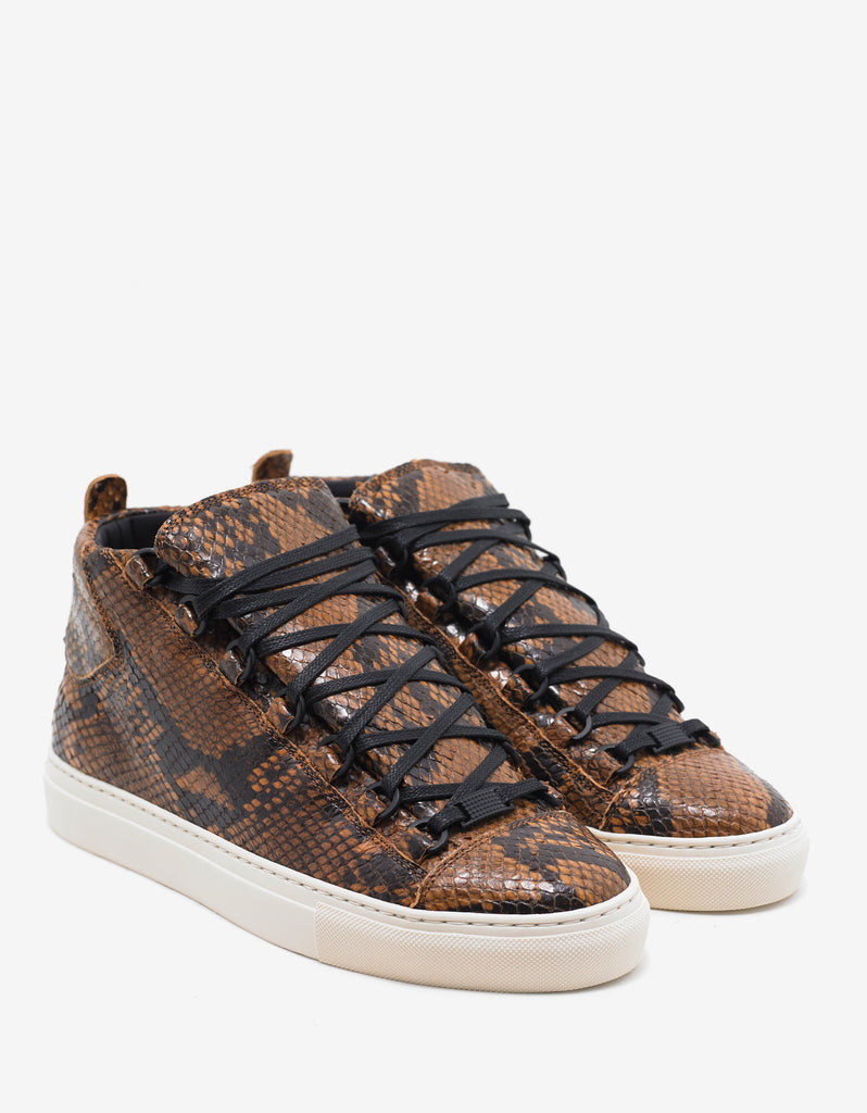 Python Effect Leather High Top Trainers