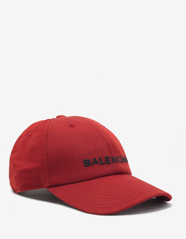 Balenciaga Red Baseball Cap with Logo