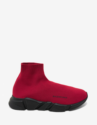 Balenciaga Red & Black Speed Trainers