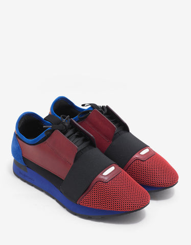 Balenciaga Red & Blue Panelled Race Runners