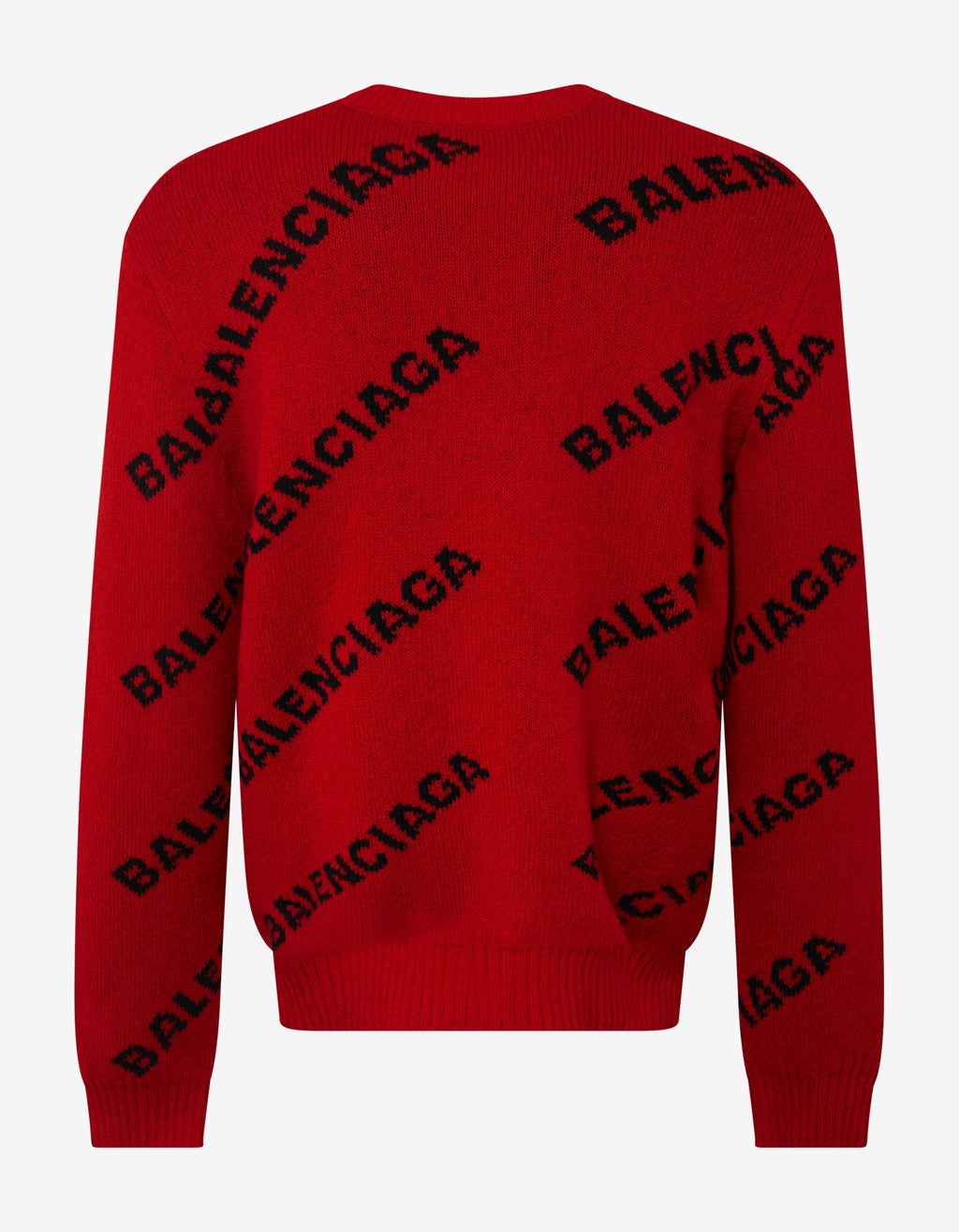 Red Logo Jacquard Crew Neck Sweater -