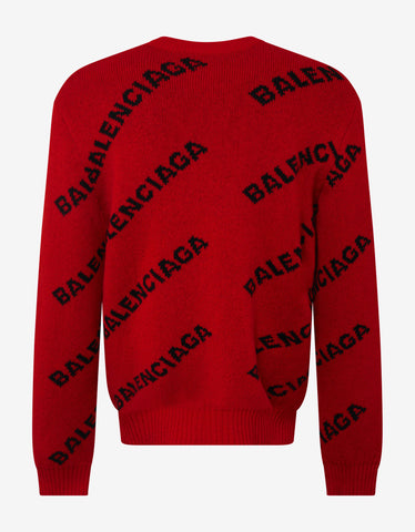 Balenciaga Red Logo Jacquard Crew Neck Sweater