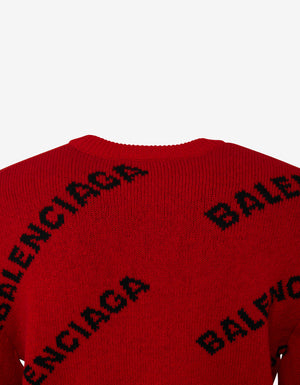 Red Logo Jacquard Crew Neck Sweater