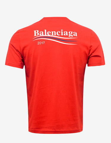 Balenciaga Red Tricolour Stripe Logo T-Shirt