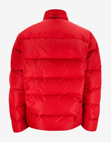 Balenciaga Red Copyright Logo Rip Stop Padded Down Jacket
