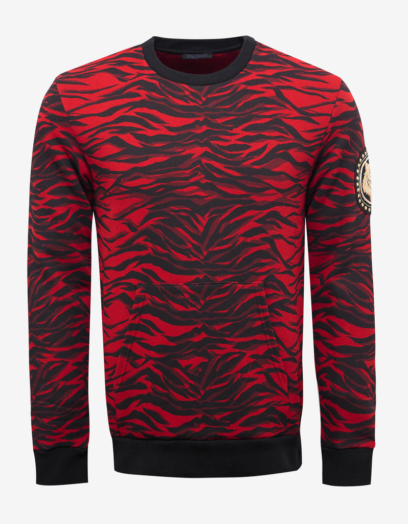Red Tiger Stripe Sweatshirt with Arm Badge