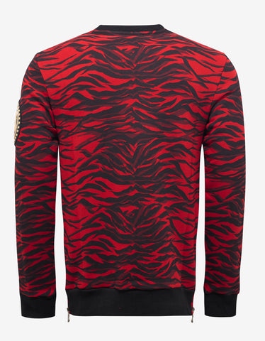 Balmain Red Tiger Stripe Sweatshirt with Arm Badge