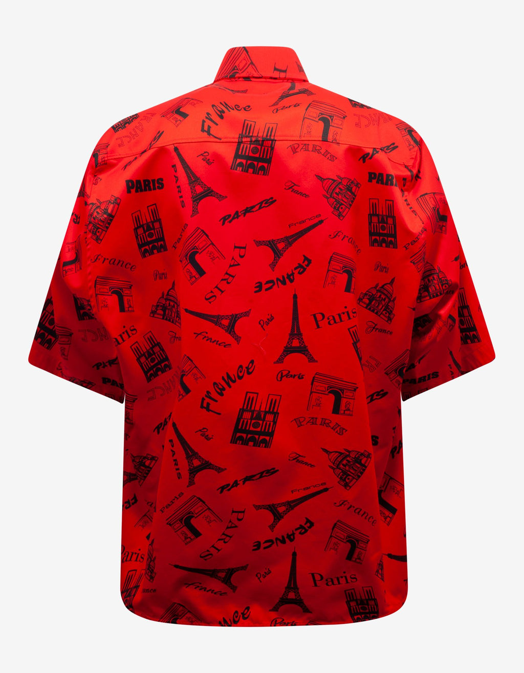 Red Tourist Print Square Back Shirt -
