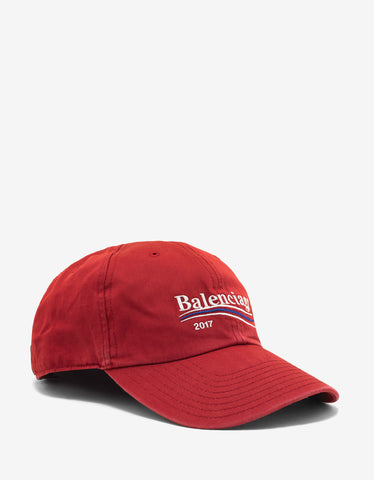 Balenciaga Red Logo Embroidered Baseball Cap