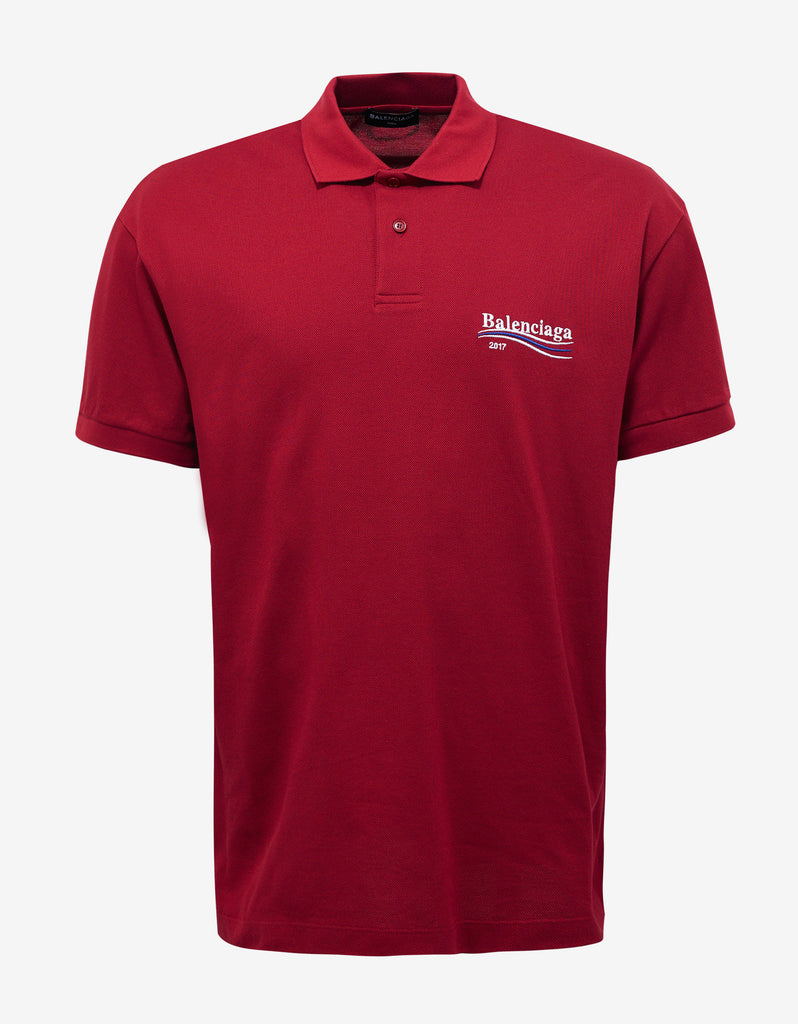 balenciaga red tricolour stripe logo oversized polo t