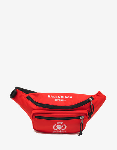 Balenciaga Red World Food Programme Waist Bag