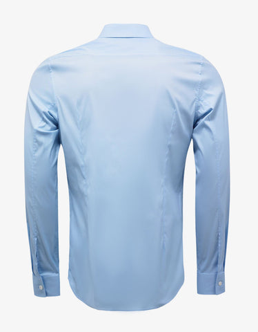 Balenciaga Sky Blue Stretch Cotton Slim Fit Shirt
