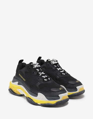 Balenciaga Triple S Black & Yellow Trainers