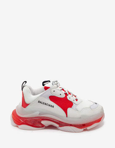 Balenciaga Triple S Clear Sole White & Red Trainers