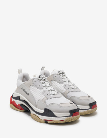 Balenciaga Triple S White, Red & Black Trainers