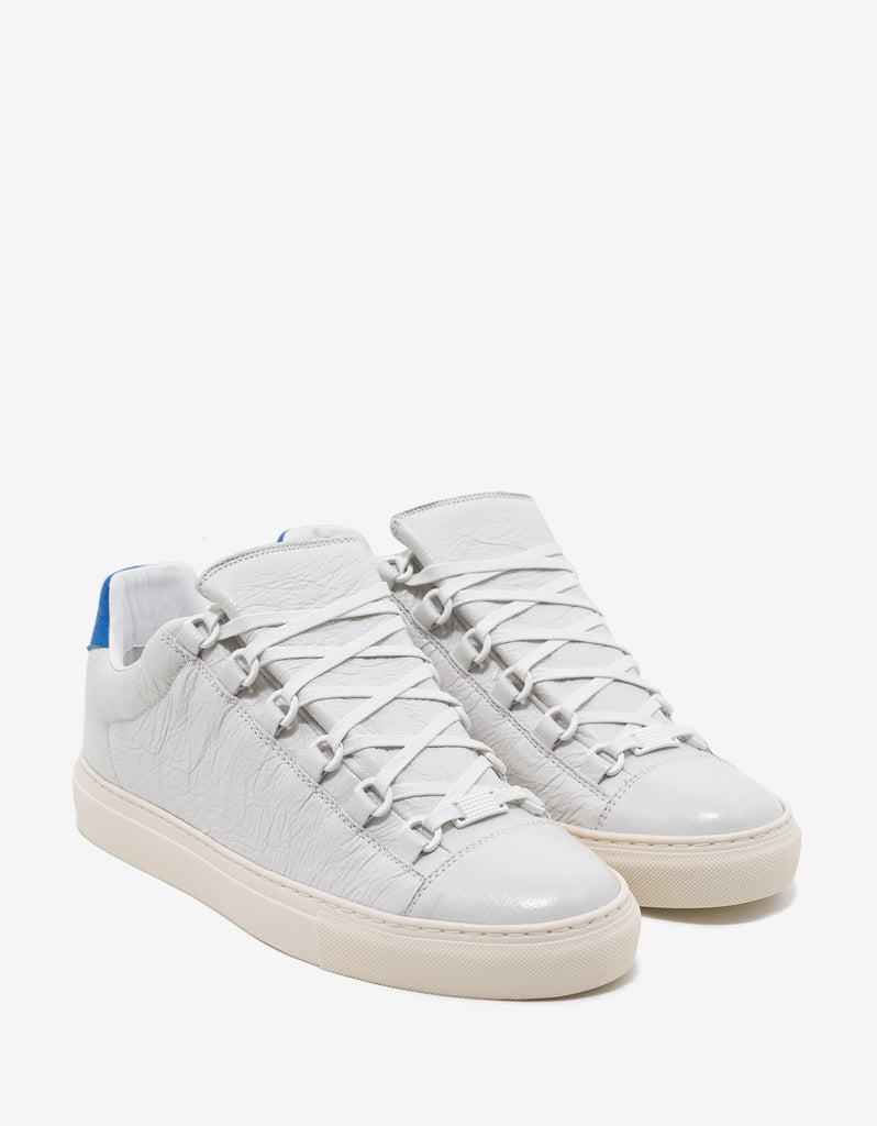 0acf662d09fb Balenciaga White Arena Leather Trainers with Blue Panel ...