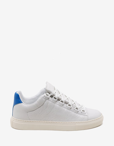 Balenciaga White Arena Leather Trainers with Blue Panel
