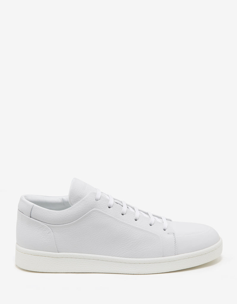 White Grain Leather Low Trainers