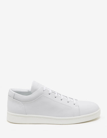 Balenciaga White Grain Leather Low Trainers