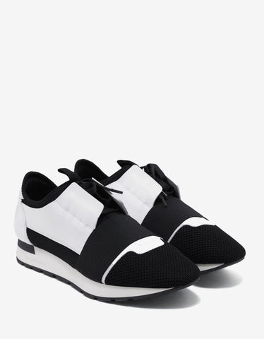 Balenciaga White & Black Patent Panelled Race Runners