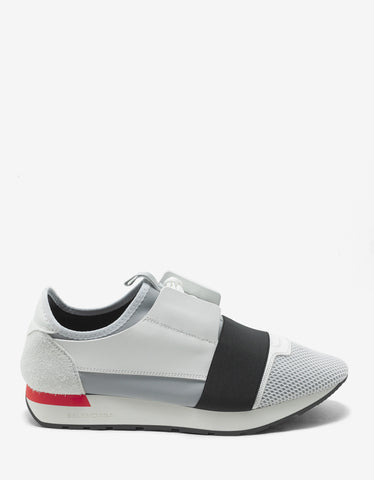 Balenciaga White Panelled Race Runners