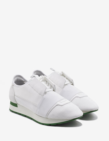 Balenciaga White Race Runners with Green Sole