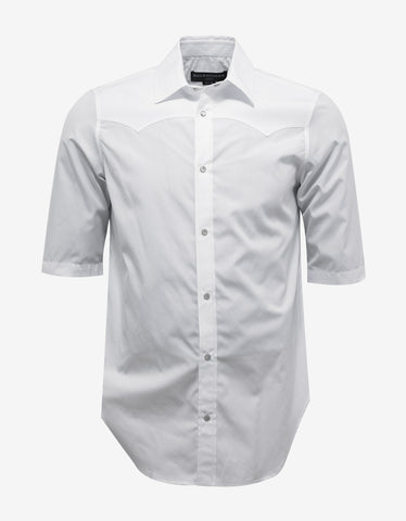 Balenciaga White Short Sleeve Western Shirt