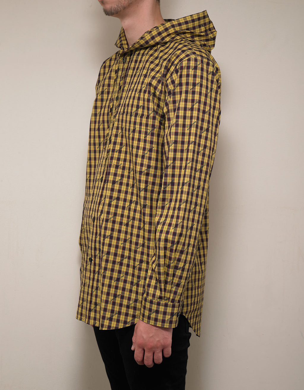 Yellow Logo Hooded Shirt
