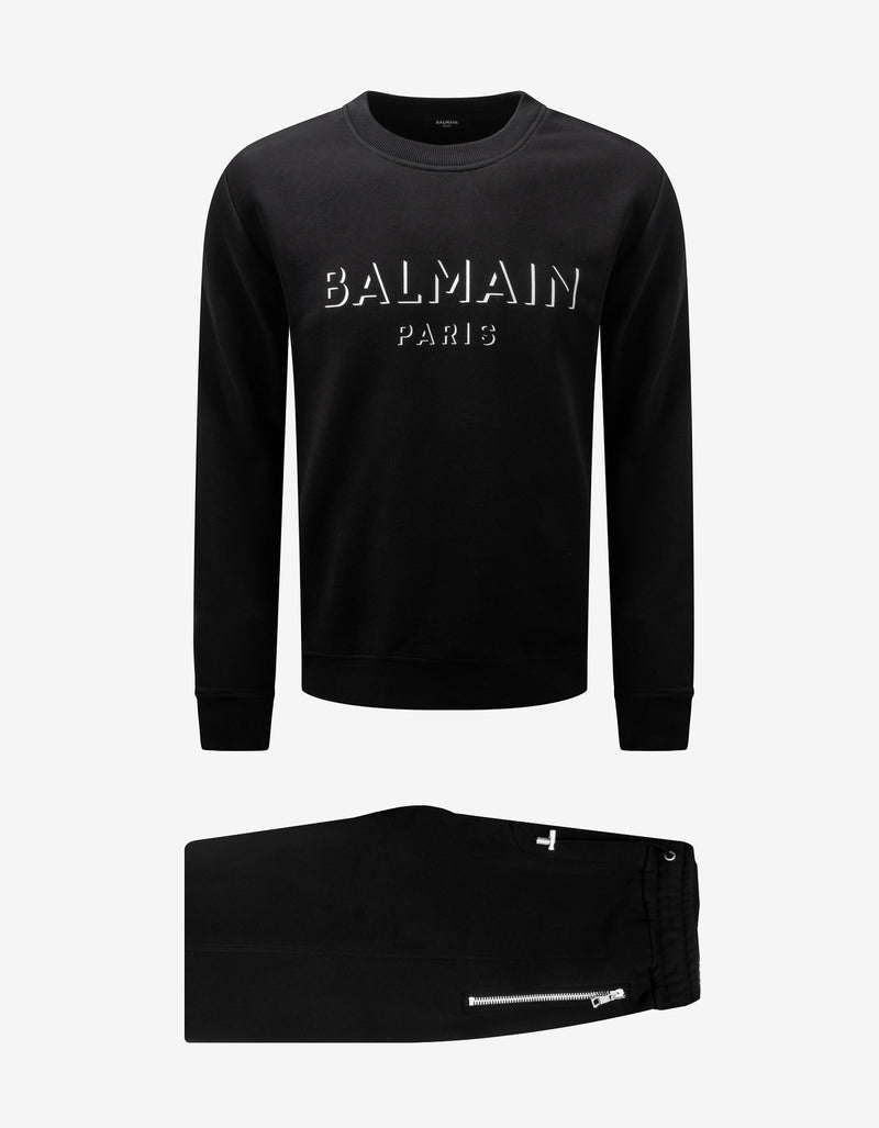 Black 3D Effect Logo Crew Neck Tracksuit