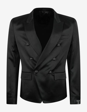 Black Double-Breasted Silk Blazer -
