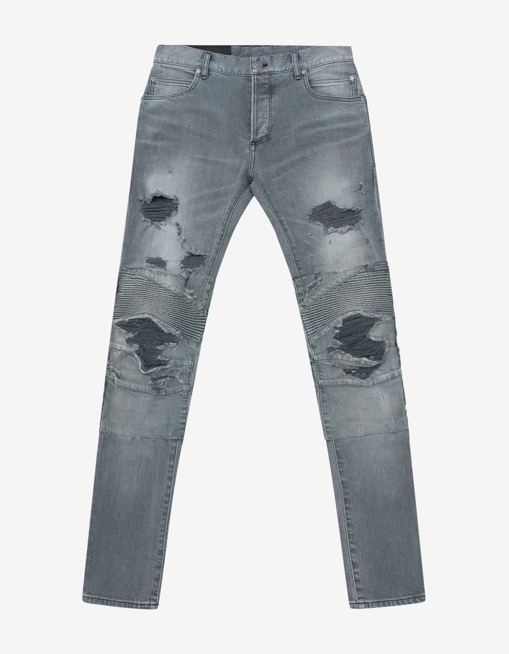 Grey Super Destroyed Slim Biker Jeans