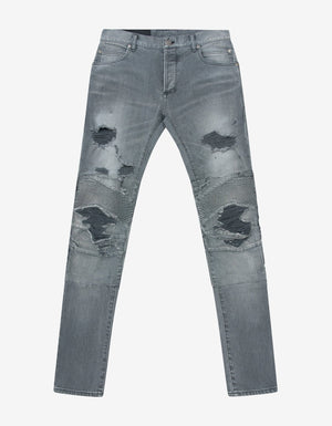 Grey Super Destroyed Slim Biker Jeans -