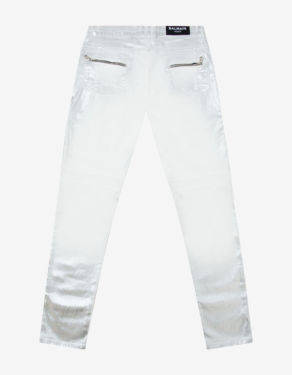 Silver Lamination Ribbed Panel Slim Biker Jeans -