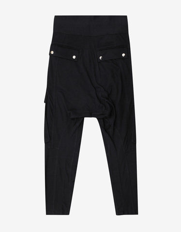 Balmain Black Drop Crotch Sweat Pants with Mesh