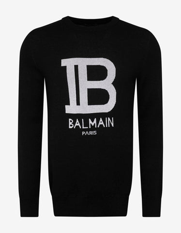 Balmain Black B Logo Wool-Blend Sweater