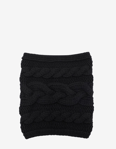Balmain Black Cable Knit Wool Snood