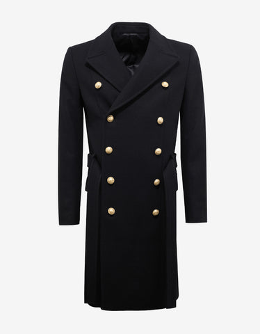 Balmain Black Cashmere Blend Military Trench Coat