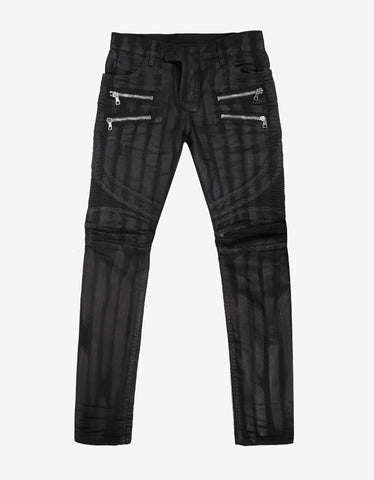 Balmain Black Coated Regular Fit Biker Jeans