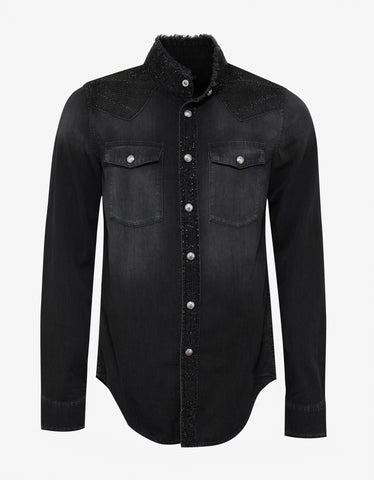 Balmain Black Denim Shirt with Rhinestones