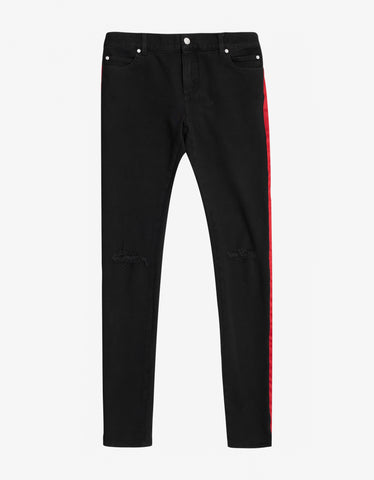 Balmain Black Distressed Skinny Jeans with Satin Bands