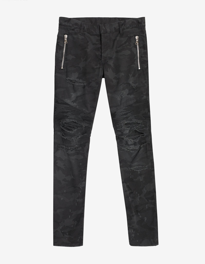 Black Distressed Camo Biker Jeans