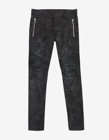 Balmain Black Distressed Camo Biker Jeans