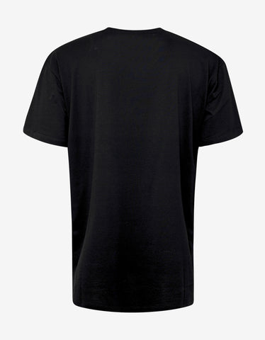 Balmain Black Flocked Medallion Print T-Shirt