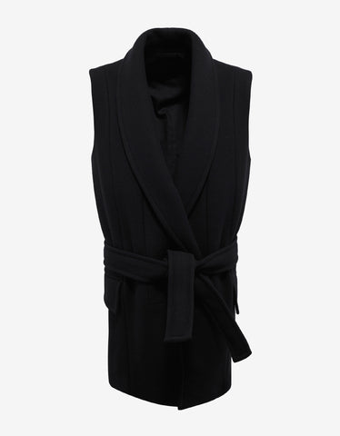 Balmain Black Sleeveless Wool Blend Overcoat
