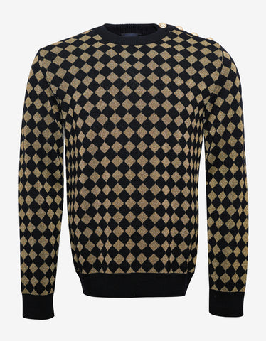 Balmain Black & Gold Diamond Check Sweater