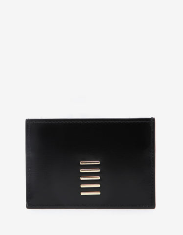 Balmain Black & Gold Leather Geometric Card Holder