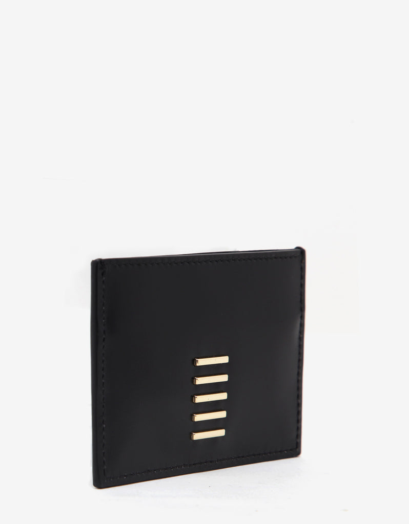 Black & Gold Leather Geometric Card Holder